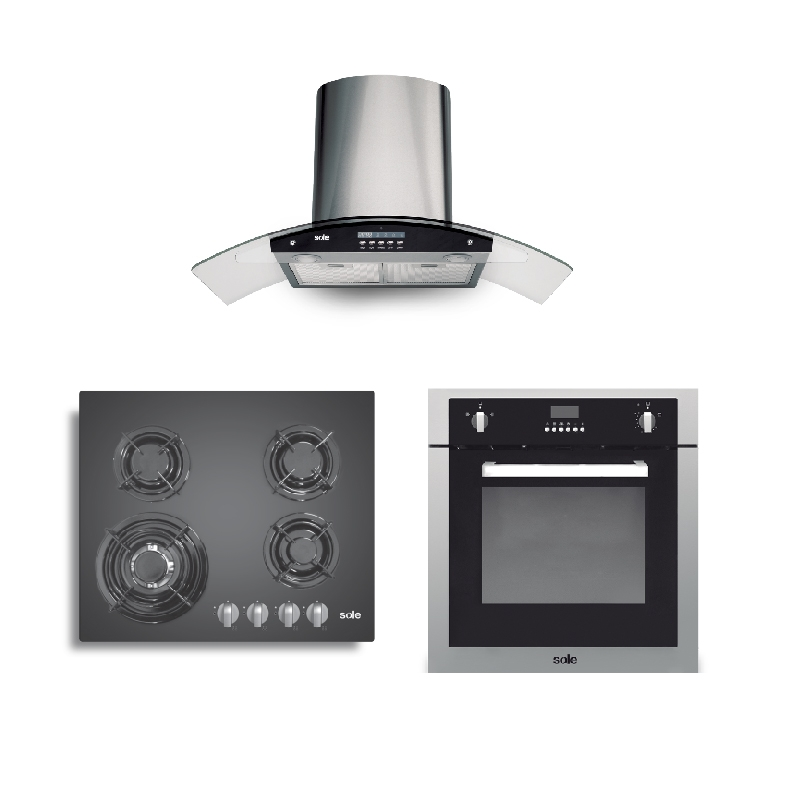 SOLE CAMPANA DECORATIVA TURE 63CO + COCINA EMPOTRABLE SOLC0034 + HORNO EMPOTRABLE A GAS SOLH0007