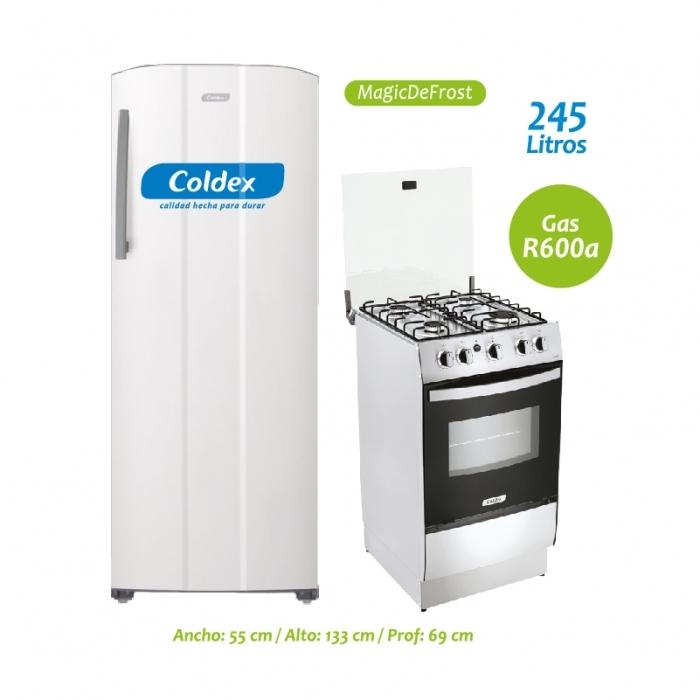 COLDEX REFRIGERADORA COOLSTYLE 250A / BLANCA + COCINA A GAS CX520BL
