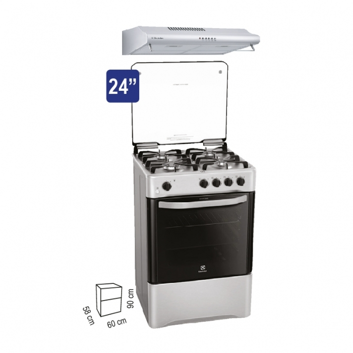 ELECTROLUX COCINA A GAS EKGG24C2CPSB + CAMPANA EXTRACTORA EJSE242TBJIS