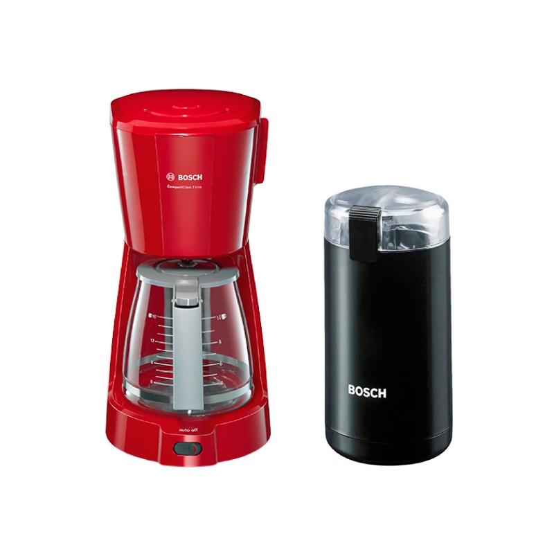 BOSCH CAFETERA COMPACTA ROJA TKA3A034 + MOLINILLO DE CAFE NEGRO MKM6003