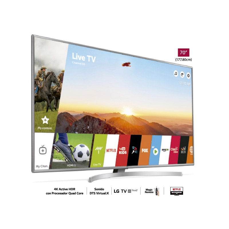 LG TELEVISOR UHD 4K AI THINQ UK6550 70""