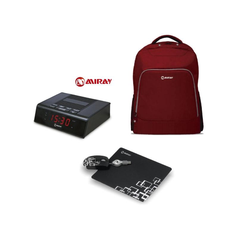 MIRAY MOCHILA P/ LAPTOP MML ENL25015B + RADIO RELOJ DESPERTADOR MR 161 + MOUSE CON PAD MCP EPM8013