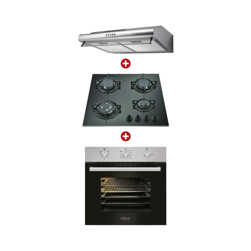 KLIMATIC CAMPANA EXTRACTORA IWH101IXG M + COCINA EMPOTRABLE BASIC I + HORNO EMPOTRABLE LUBECK B
