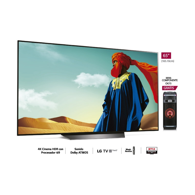 "LG TELEVISOR 4K AI THINQ OLED B8 65"""